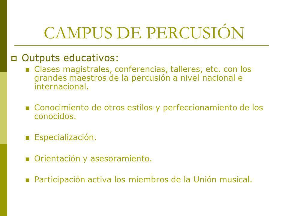 CAMPUS DE PERCUSIÓN Outputs educativos: