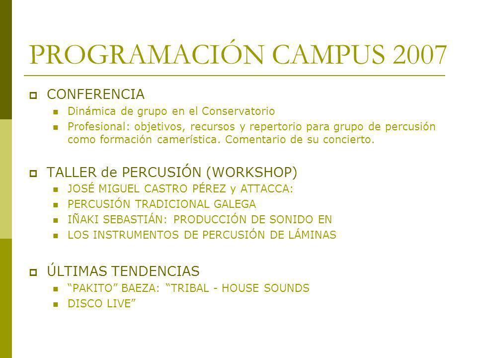 PROGRAMACIÓN CAMPUS 2007 CONFERENCIA TALLER de PERCUSIÓN (WORKSHOP)