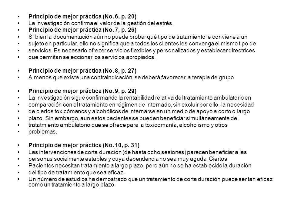Principio de mejor práctica (No. 6, p. 20)