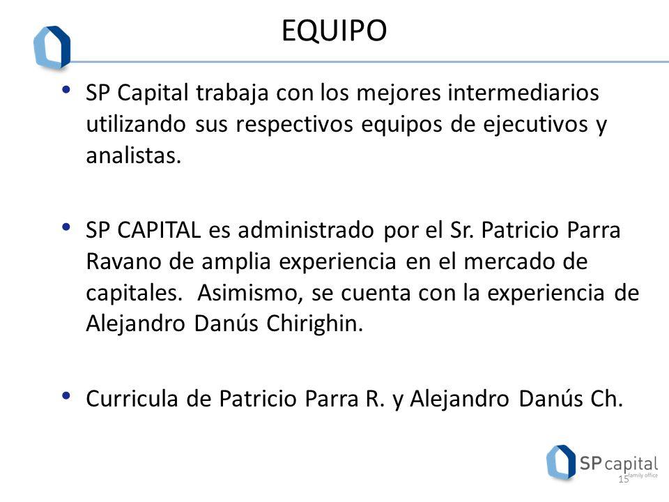 EQUIPO SP Capital trabaja con los mejores intermediarios utilizando sus respectivos equipos de ejecutivos y analistas.