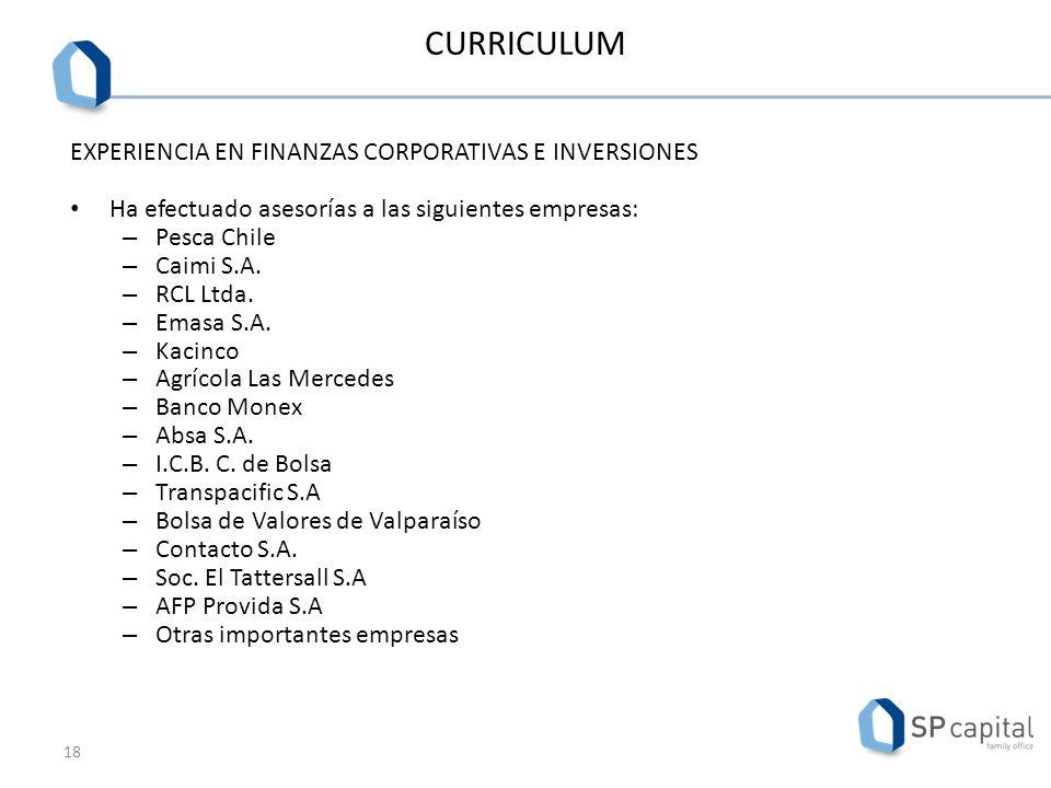 CURRICULUM EXPERIENCIA EN FINANZAS CORPORATIVAS E INVERSIONES