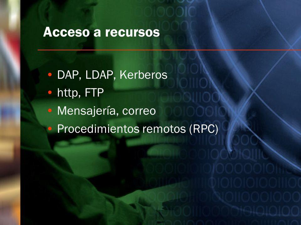 Acceso a recursos DAP, LDAP, Kerberos http, FTP Mensajería, correo