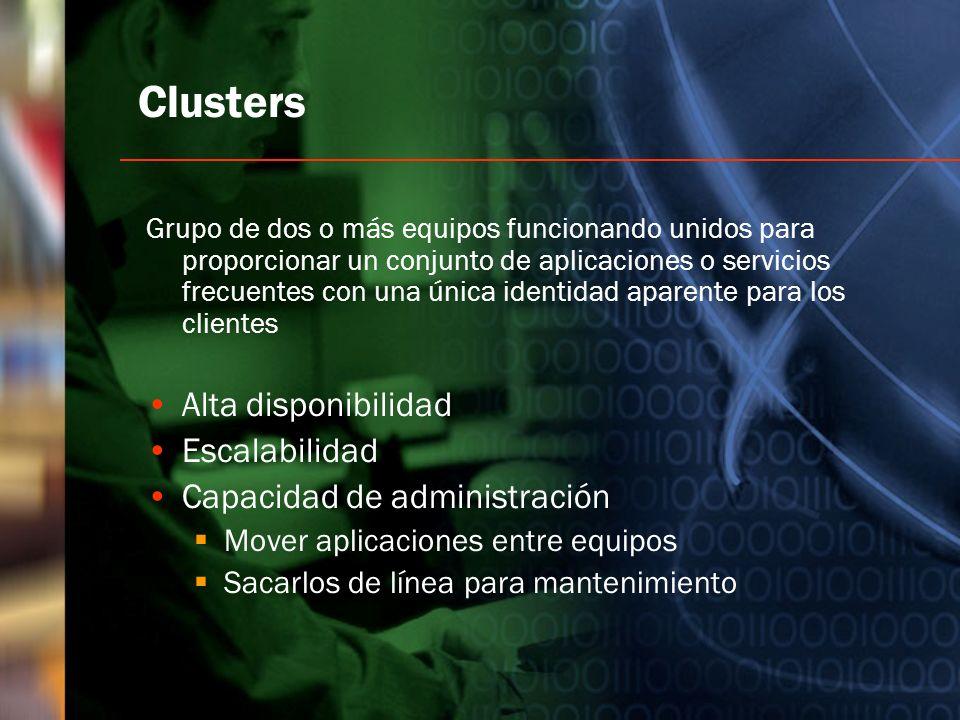 Clusters Alta disponibilidad Escalabilidad Capacidad de administración