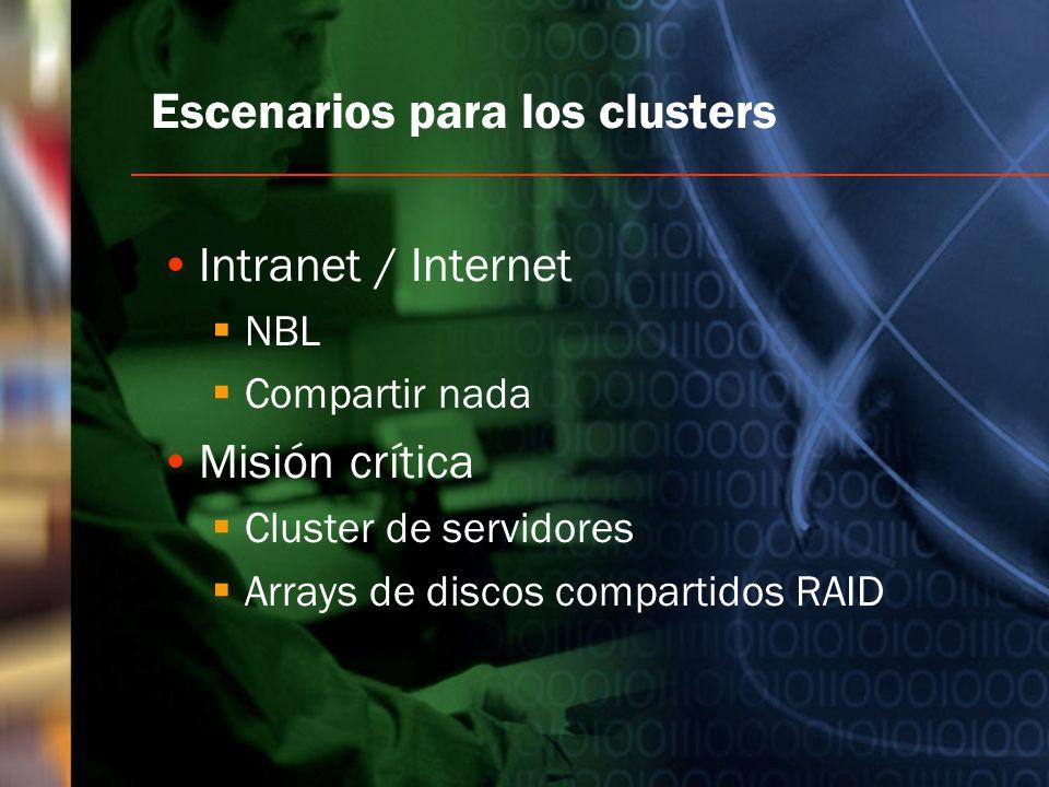 Escenarios para los clusters