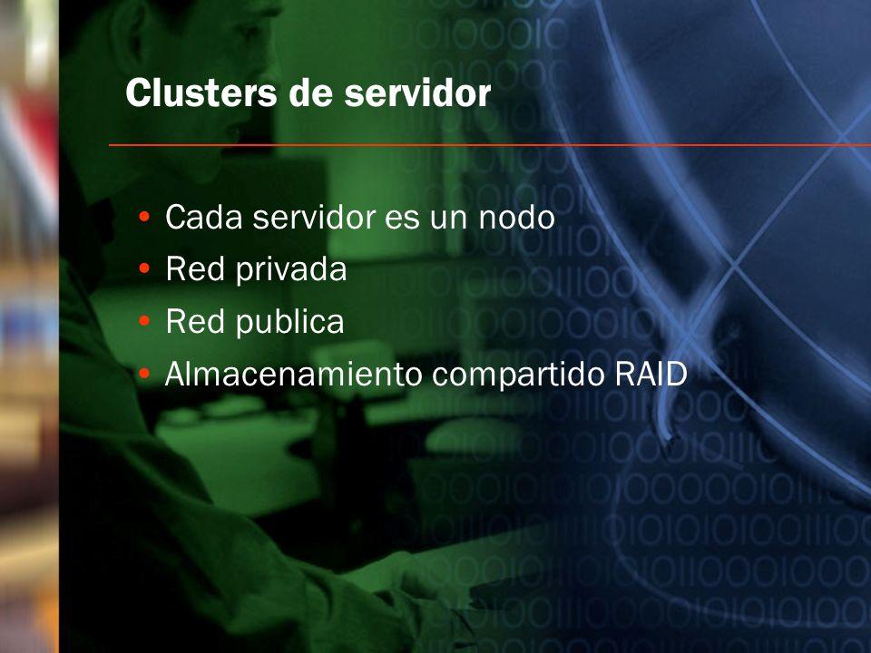 Clusters de servidor Cada servidor es un nodo Red privada Red publica
