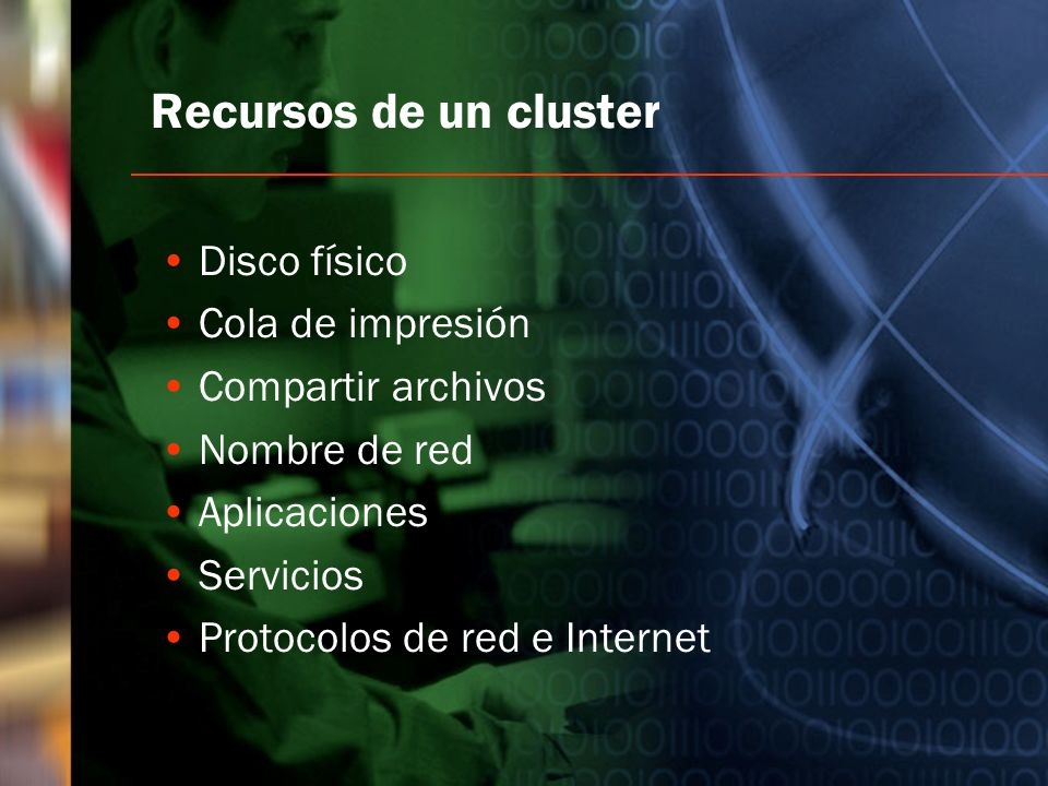 Recursos de un cluster Disco físico Cola de impresión