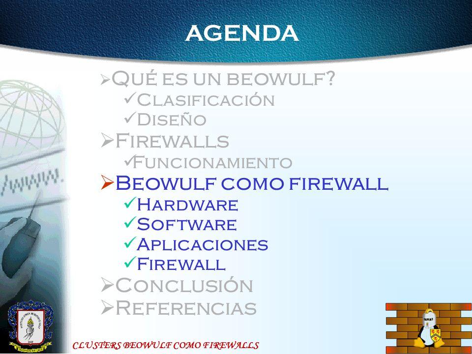 AGENDA Firewalls Beowulf como firewall Conclusión Referencias