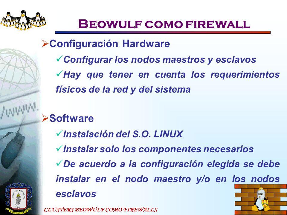Beowulf como firewall Configuración Hardware Software