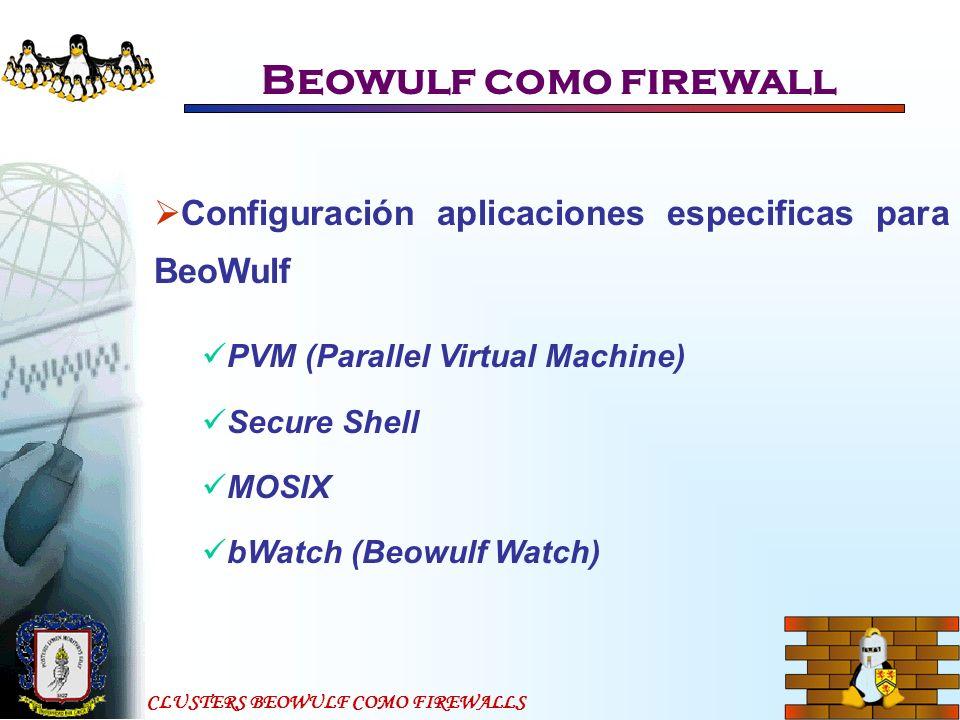 Beowulf como firewall Configuración aplicaciones especificas para BeoWulf. PVM (Parallel Virtual Machine)