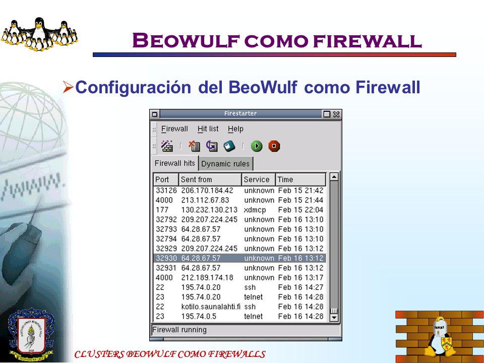 Beowulf como firewall Configuración del BeoWulf como Firewall