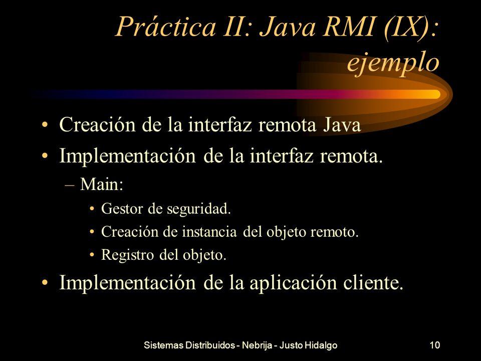 Práctica II: Java RMI (IX): ejemplo