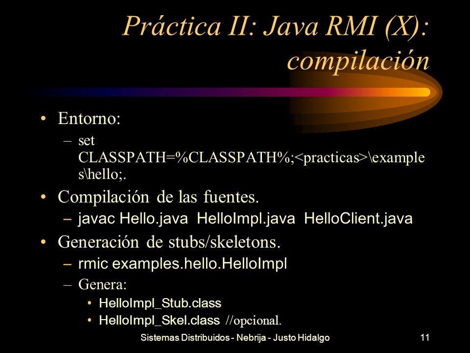 Práctica II: Java RMI (X): compilación
