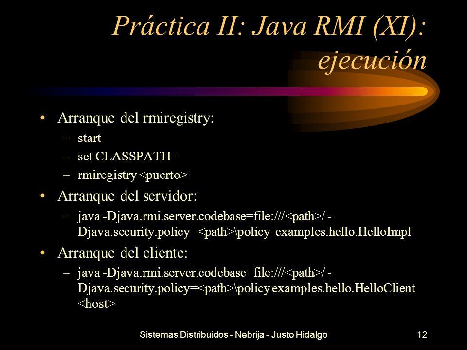 Práctica II: Java RMI (XI): ejecución