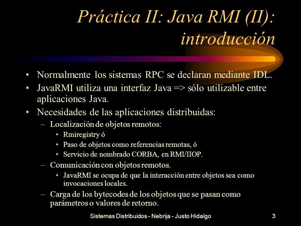 Práctica II: Java RMI (II): introducción