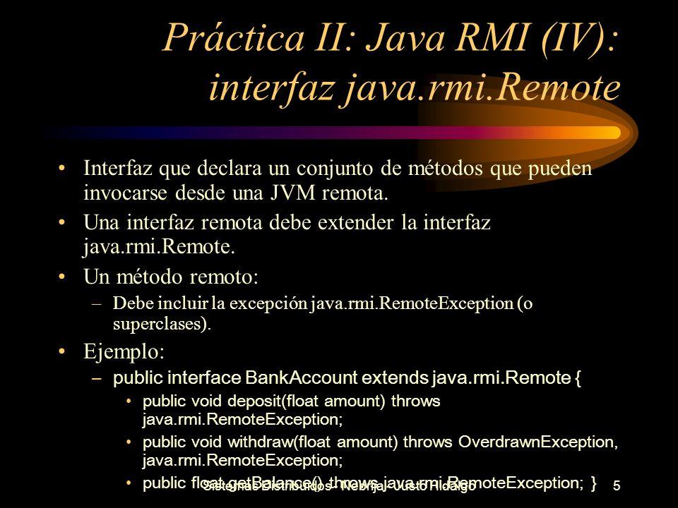 Práctica II: Java RMI (IV): interfaz java.rmi.Remote
