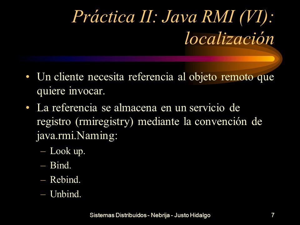 Práctica II: Java RMI (VI): localización