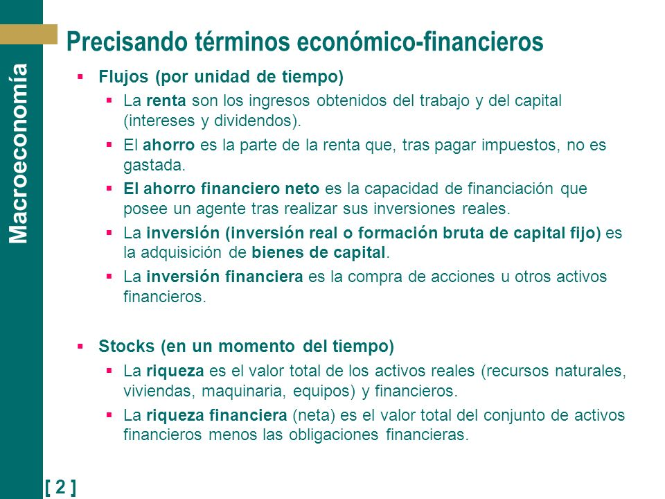 Precisando términos económico-financieros