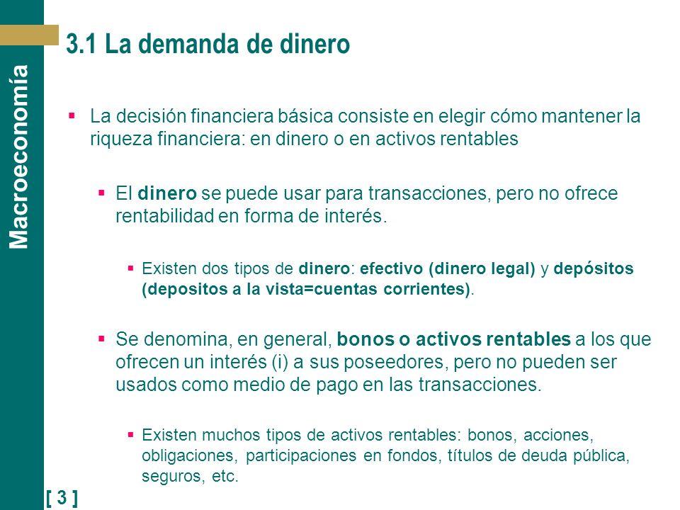 3.1 La demanda de dinero La decisión financiera básica consiste en elegir cómo mantener la riqueza financiera: en dinero o en activos rentables.