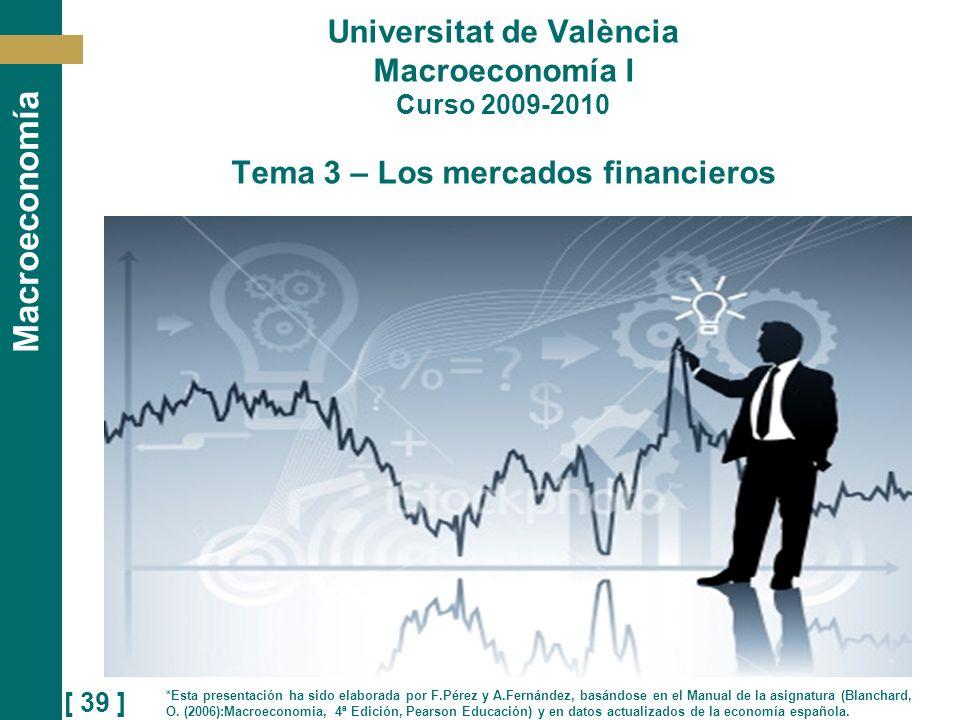 Universitat de València Macroeconomía I Curso 2009-2010 Tema 3 – Los mercados financieros