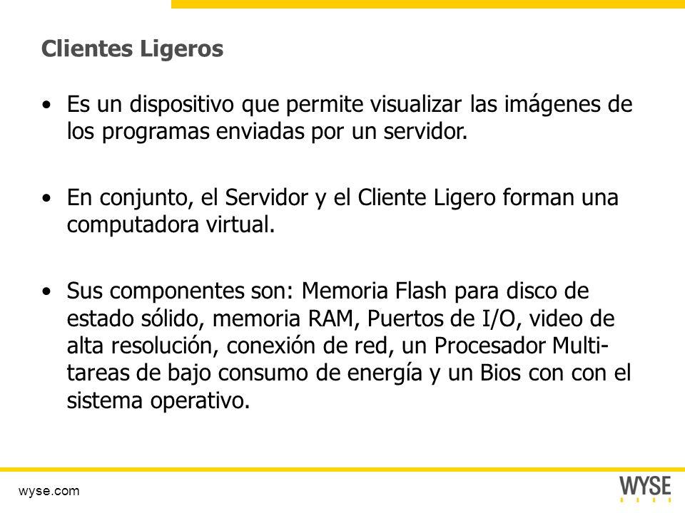 Clientes Ligeros Es un dispositivo que permite visualizar las imágenes de los programas enviadas por un servidor.