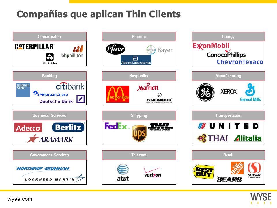 Compañías que aplican Thin Clients