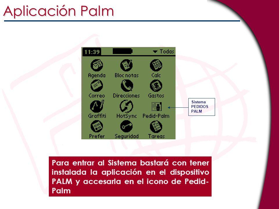 Aplicación Palm Sistema. PEDIDOS PALM.
