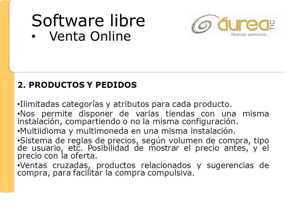 Software libre Venta Online 2. PRODUCTOS Y PEDIDOS