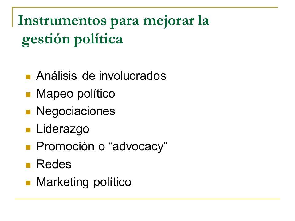 Instrumentos para mejorar la gestión política
