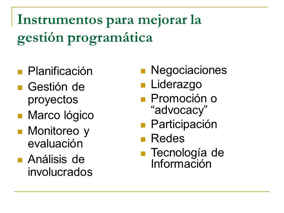 Instrumentos para mejorar la gestión programática