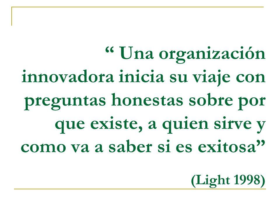 Una organización innovadora inicia su viaje con preguntas honestas sobre por que existe, a quien sirve y como va a saber si es exitosa (Light 1998)