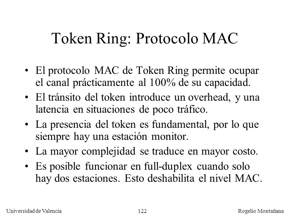 Token Ring: Protocolo MAC