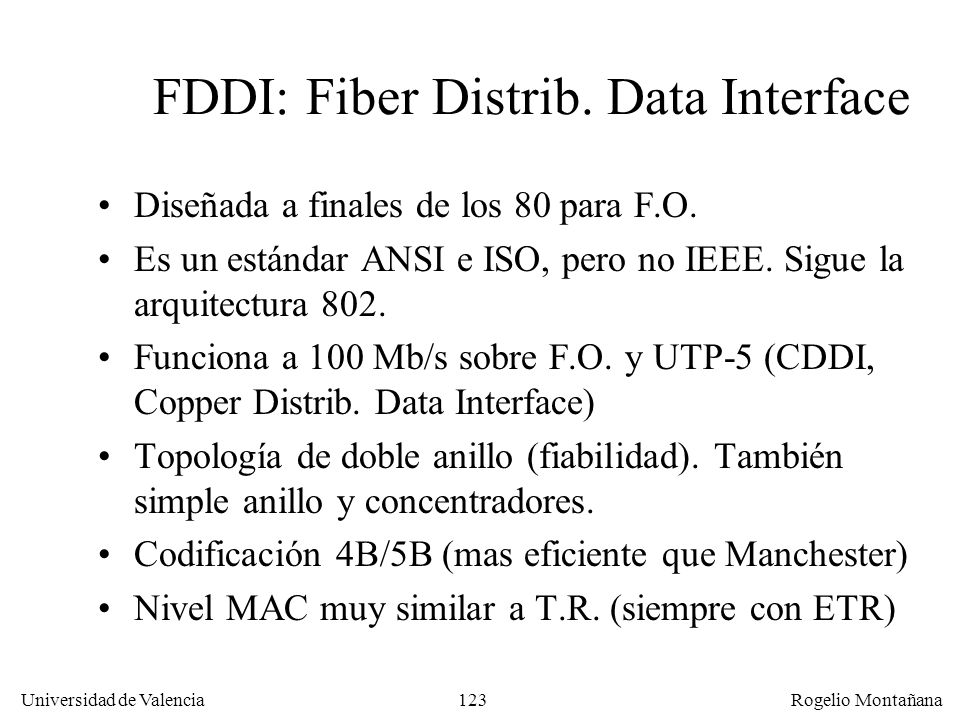 FDDI: Fiber Distrib. Data Interface
