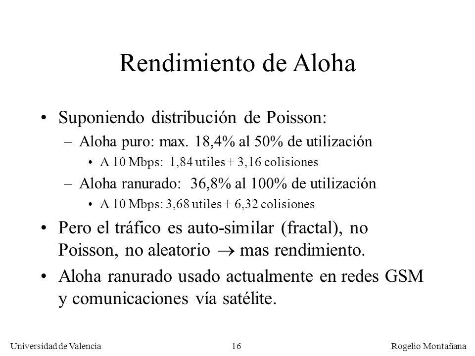 Rendimiento de Aloha Suponiendo distribución de Poisson: