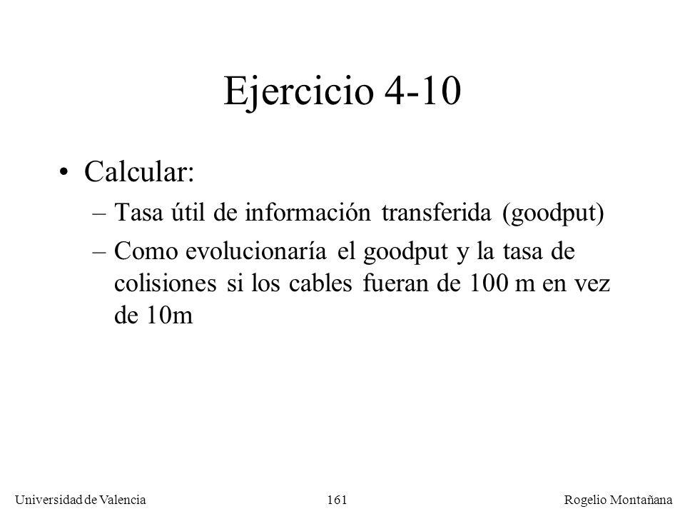 Redes Locales Ejercicio 4-10. Calcular: Tasa útil de información transferida (goodput)
