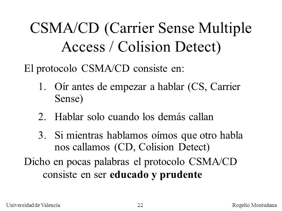 CSMA/CD (Carrier Sense Multiple Access / Colision Detect)