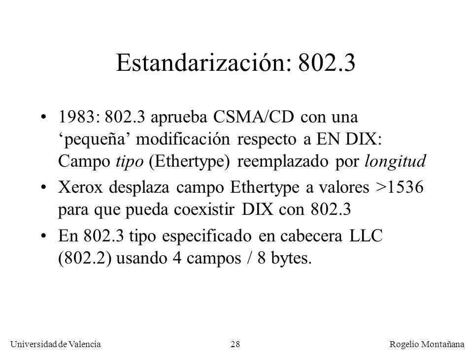 Redes Locales Estandarización: 802.3.