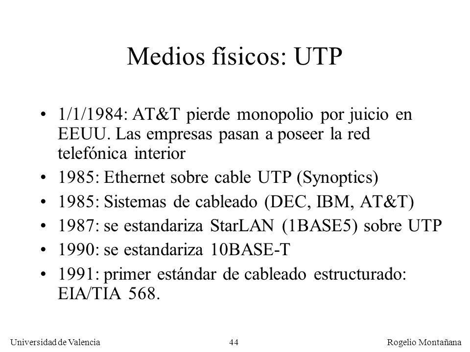 Redes Locales Medios físicos: UTP. 1/1/1984: AT&T pierde monopolio por juicio en EEUU. Las empresas pasan a poseer la red telefónica interior.