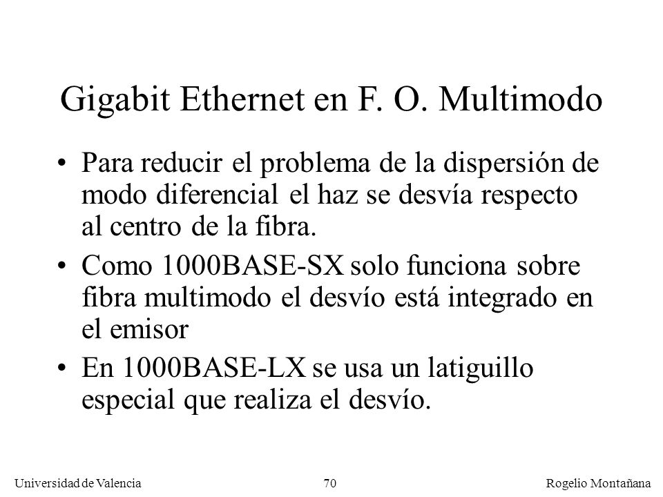 Gigabit Ethernet en F. O. Multimodo