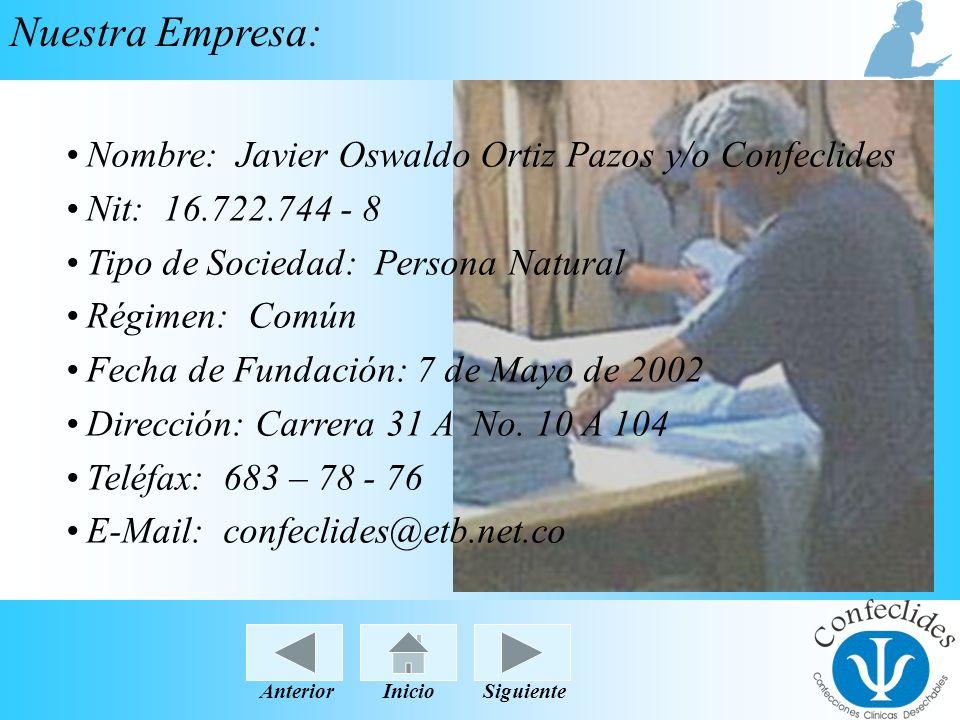 Nuestra Empresa: Nombre: Javier Oswaldo Ortiz Pazos y/o Confeclides