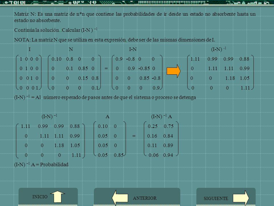 Continúa la solución.:Calcular (I-N ) –1