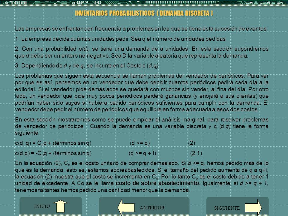 INVENTARIOS PROBABILISTICOS ( DEMANDA DISCRETA )