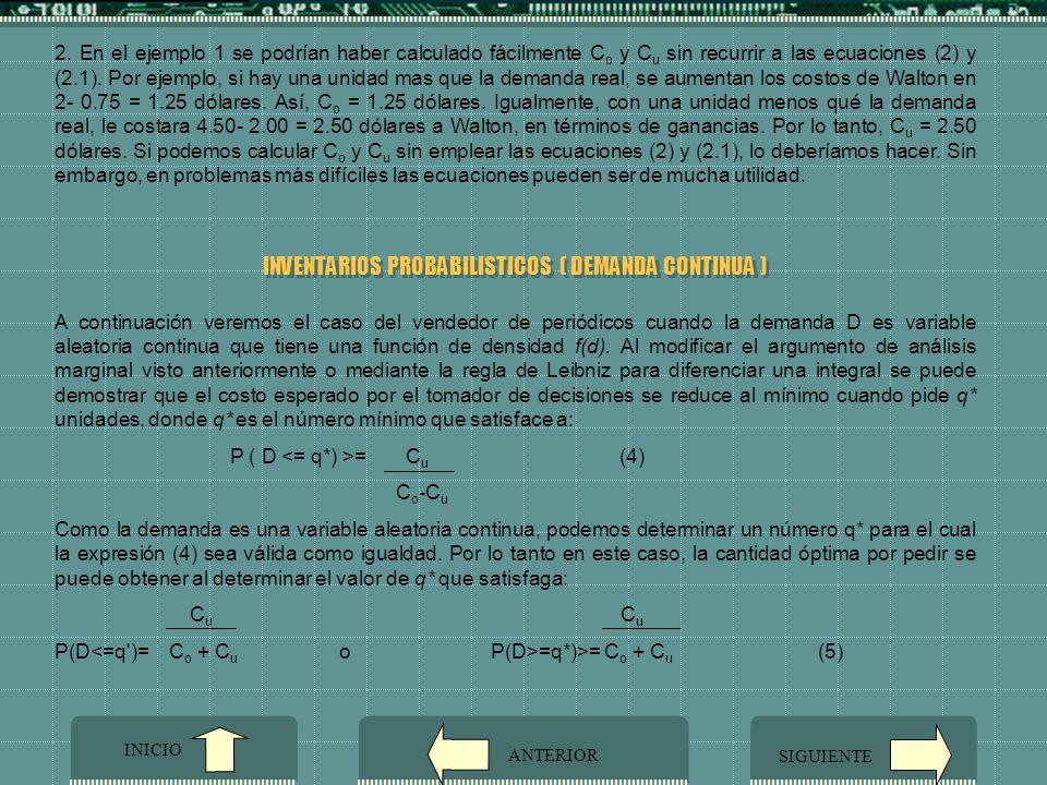 INVENTARIOS PROBABILISTICOS ( DEMANDA CONTINUA )