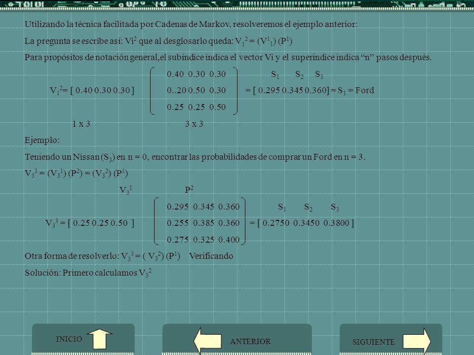 Otra forma de resolverlo: V33 = ( V32) (P1) Verificando