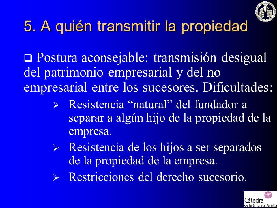 5. A quién transmitir la propiedad