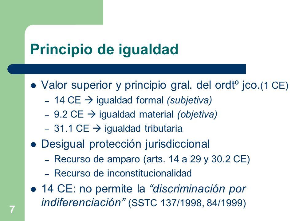 Principio de igualdad Valor superior y principio gral. del ordtº jco.(1 CE) 14 CE  igualdad formal (subjetiva)