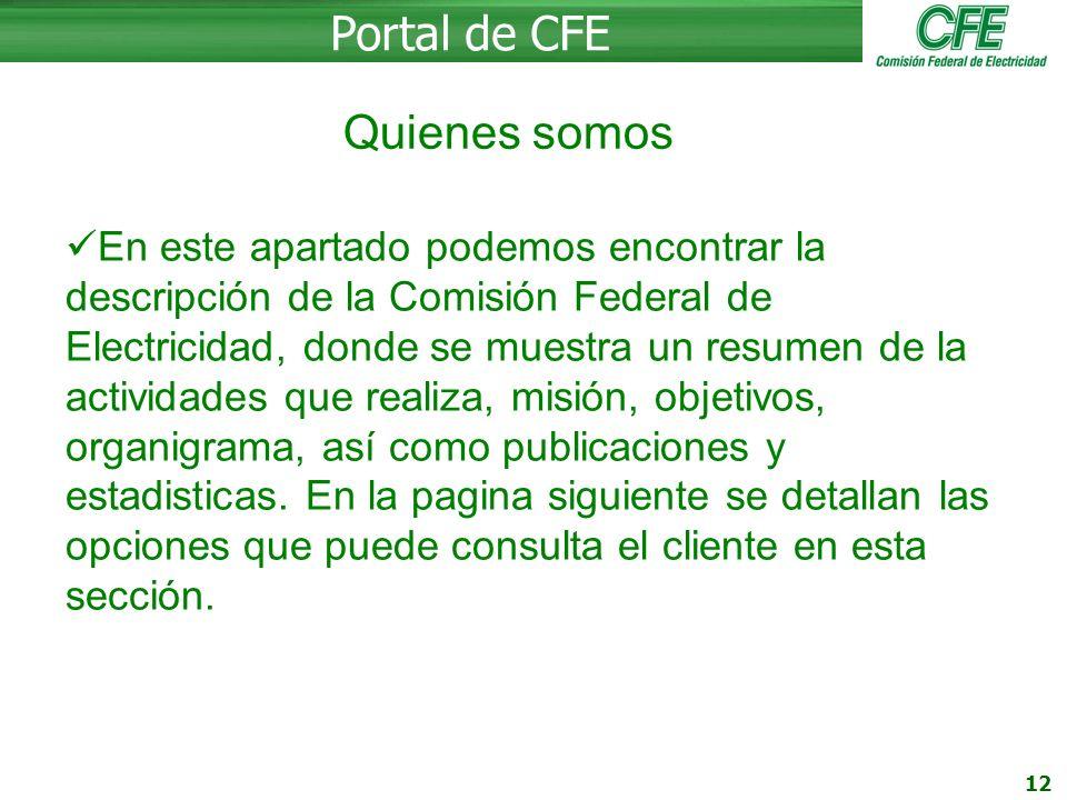 Portal de CFE Quienes somos