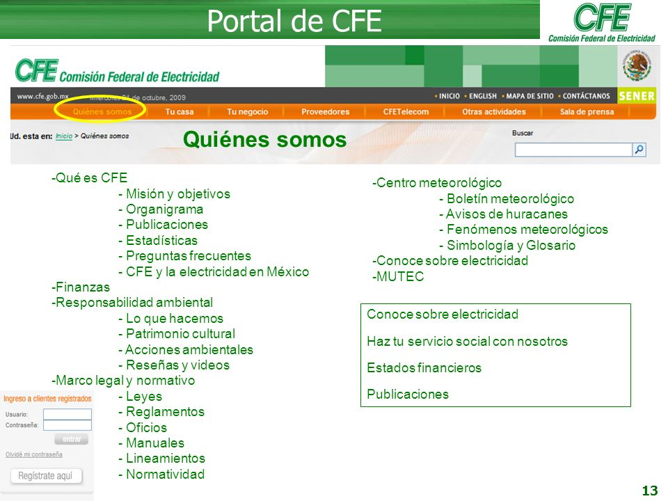 Portal de CFE Quiénes somos Qué es CFE Centro meteorológico