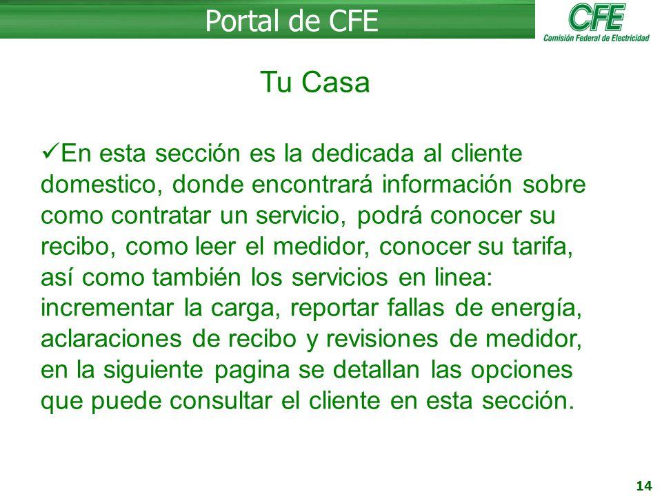 Portal de CFE Tu Casa.