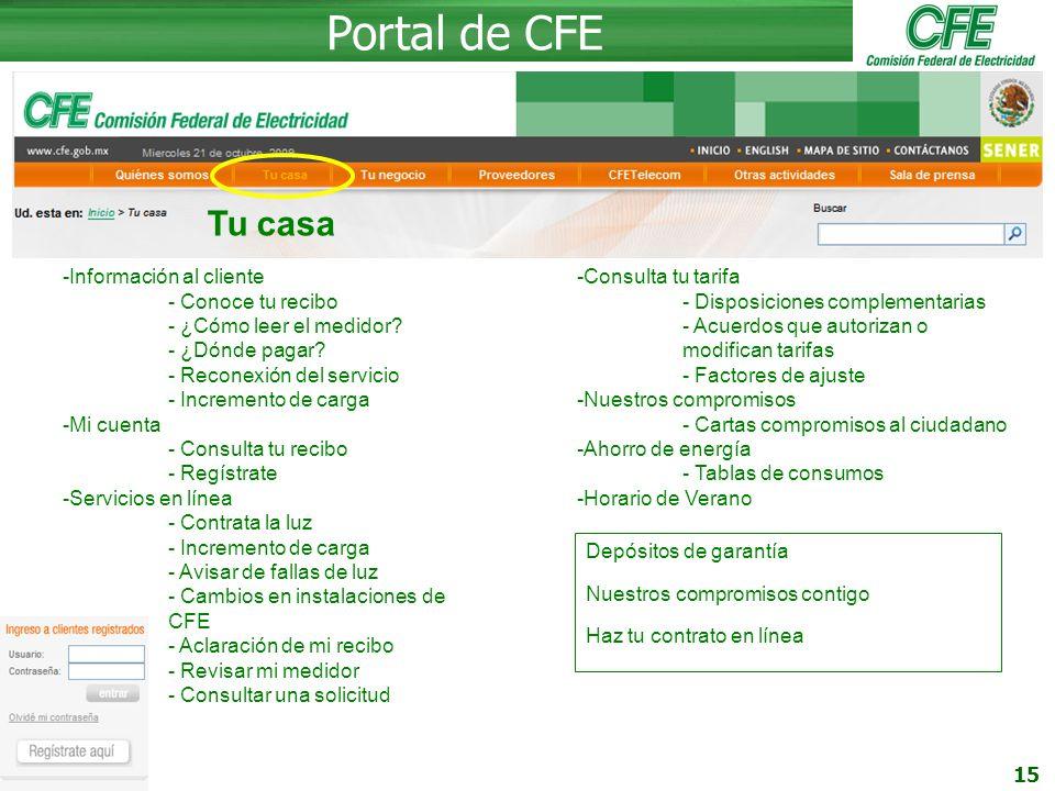 Portal de CFE Tu casa Información al cliente - Conoce tu recibo