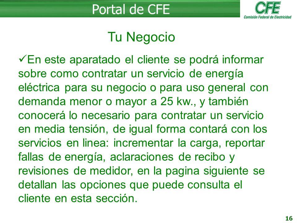 Portal de CFE Tu Negocio